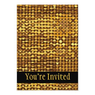 Olhar Sparkling do Sequin do ouro Convite 12.7 X 17.78cm