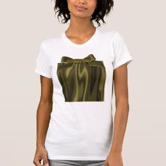 Olhe do tecido liso do cetim da verde azeitona t-shirts