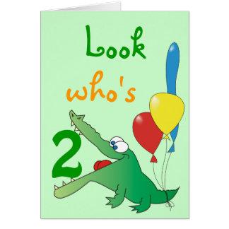 Olhe quem é 2 hoje! Cartões de aniversário bonitos