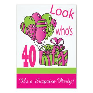 Olhe quem é aniversário de 40 anos de 40% pipe% convite 12.7 x 17.78cm