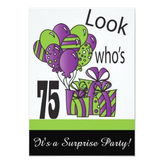 Olhe quem é aniversário de 75% pipe% 75th convite 12.7 x 17.78cm