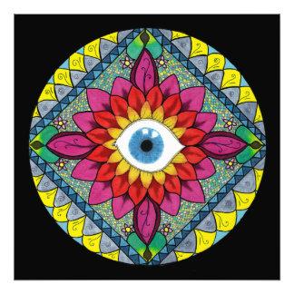 Olho colorido do abstrato do mosaico da mandala de impressão de foto