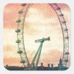 Olho de Anitiqued Londres no nascer do sol Adesivos Quadrados