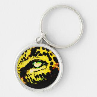 Olho do leopardo chaveiro redondo na cor prata
