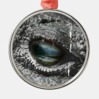 Olho do réptil ornamento redondo cor prata