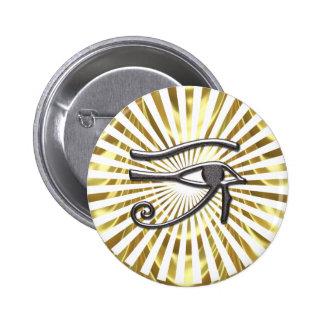 Olho egípcio do ouro e do preto de Horus Bóton Redondo 5.08cm