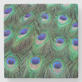 Olho-pontos na pena masculina do pavão porta-copos de pedra