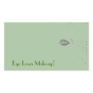 Olho verde de artista de composição com texto do cartao de visita