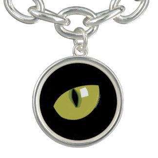 Olho verde de gato preto bracelete com pingente