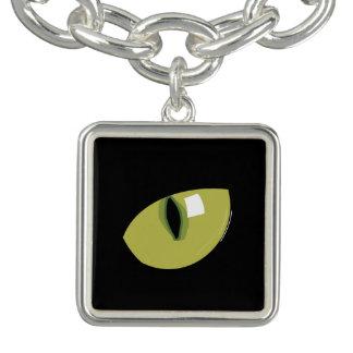Olho verde de gato preto braceletes com pingente