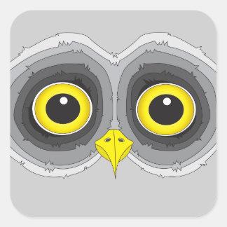Olhos da coruja dos desenhos animados adesivo quadrado