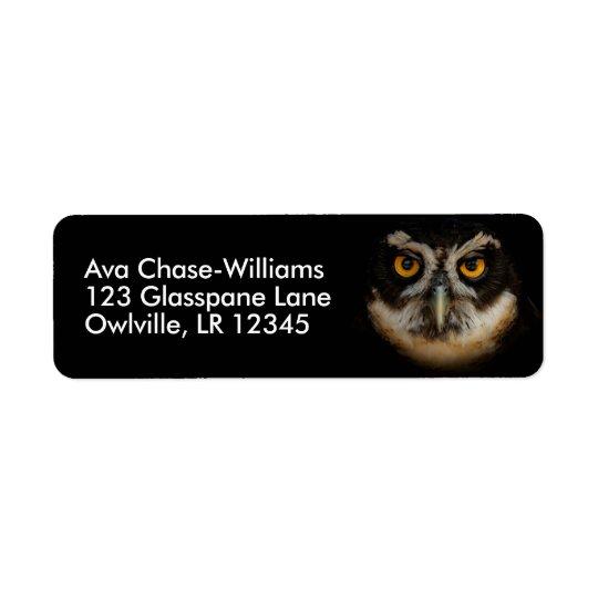 Olhos dourados de fascinação de uma coruja etiqueta endereço de retorno