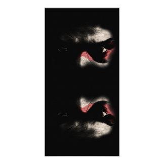 Olhos escuros cartão com foto