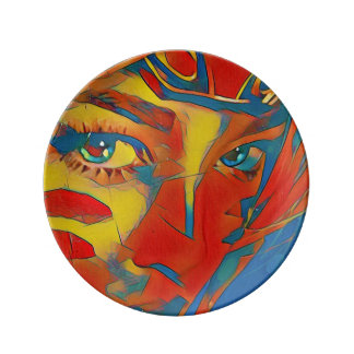 Olhos faciais artísticos vibrantes raros prato de porcelana