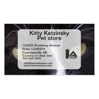 Olhos macro da foto de um gato pessoal e cartão de visita