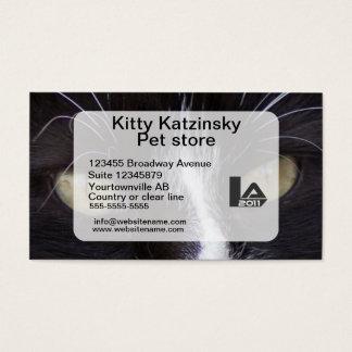 Olhos macro da foto de um gato pessoal e cartão de visitas