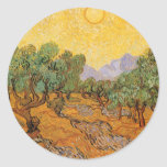 Oliveiras, céu amarelo e Sun, Vincent van Gogh Adesivo Em Formato Redondo