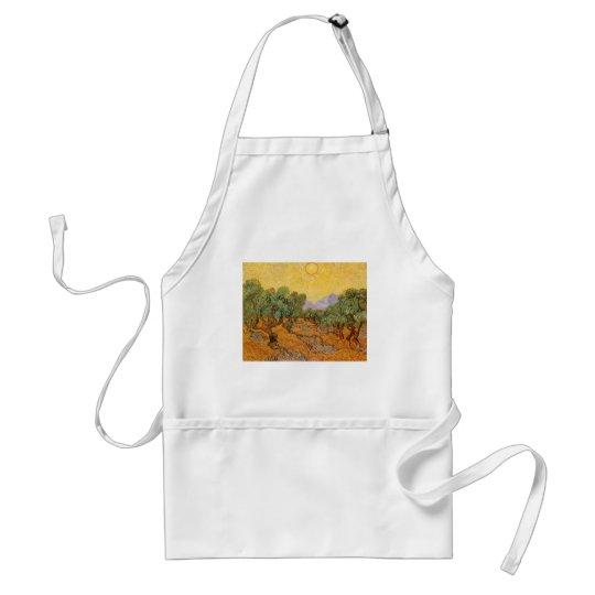 Oliveiras, céu amarelo e Sun, Vincent van Gogh Avental