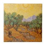 Oliveiras, céu amarelo e Sun, Vincent van Gogh Azulejos