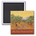 Oliveiras, céu amarelo e Sun, Vincent van Gogh Ímã Quadrado