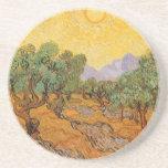 Oliveiras, céu amarelo e Sun, Vincent van Gogh Porta Copos