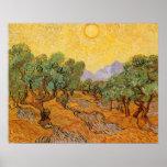 Oliveiras, céu amarelo e Sun, Vincent van Gogh Impressão