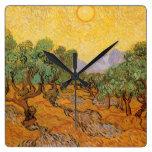 Oliveiras, céu amarelo e Sun, Vincent van Gogh Relógio De Parede