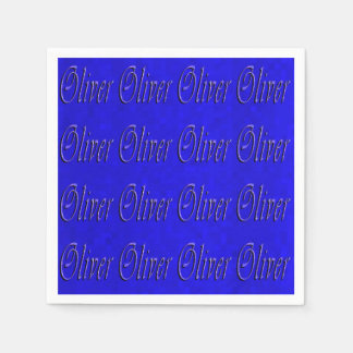 Oliver, nome, logotipo, guardanapo azuis do