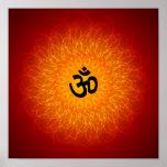 OM espiritual no poster da mandala