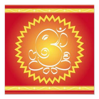 OM Ganesha com estrela amarela Convite Quadrado 13.35 X 13.35cm