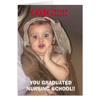 Omg você graduou o cartão engraçado do bebê da
