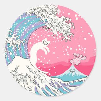 Onda cor-de-rosa de Psychodelic Bubblegum Kunagawa Adesivo
