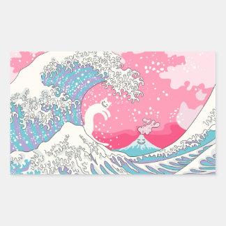 Onda cor-de-rosa de Psychodelic Bubblegum Kunagawa Adesivo Retangular