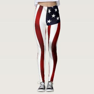 Onda da bandeira americana legging