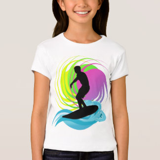Onda, surfista, o t-shirt do miúdo colorido dos
