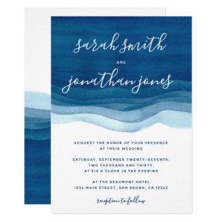 Ondas da aguarela & convite azuis do casamento do