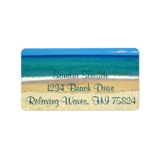 Ondas de oceano azuis e etiquetas de endereço do