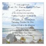Ondas de oceano brancas das orquídeas que Wedding Convite