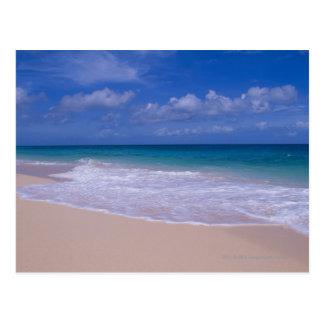 Ondas de oceano que espumam no Sandy Beach Cartão Postal