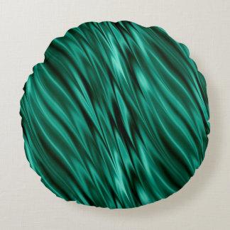 Ondas de seda verdes da cerceta almofada redonda