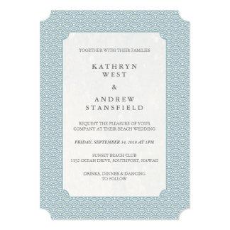 Ondas pequenas azuis mínimas que Wedding o convite