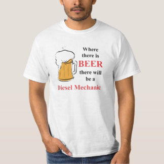 Onde há cerveja - mecânico diesel camiseta