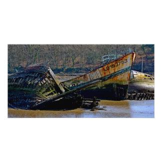 Onde velho os barcos se aposentam cartão com foto