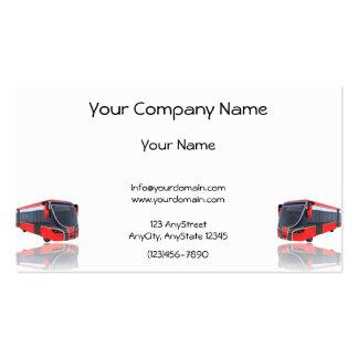 Ônibus branco e preto vermelho no fundo branco cartão de visita