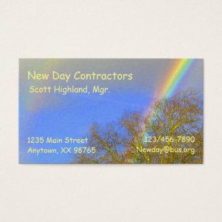 Ônibus. Cartão - arco-íris dobro sobre árvores