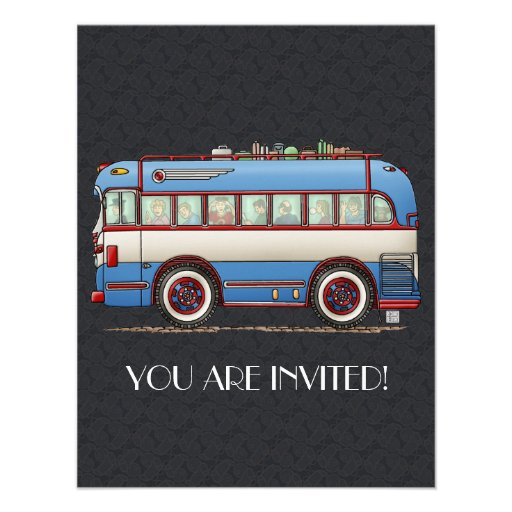 Ônibus de excursão bonito do ônibus convites