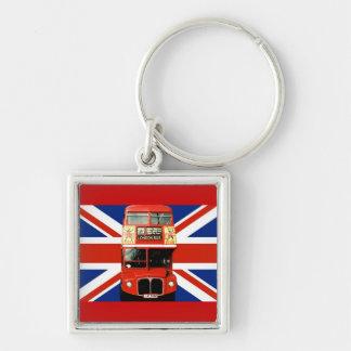 Ônibus de Londres e bandeira britânica Chaveiro Quadrado Na Cor Prata