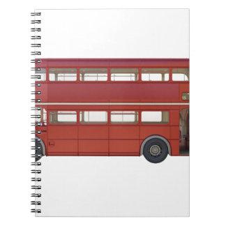 Ônibus do vermelho do autocarro de dois andares caderno