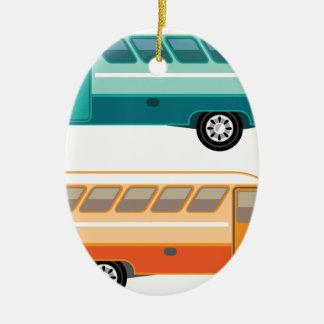 Ônibus do vintage ornamento de cerâmica oval
