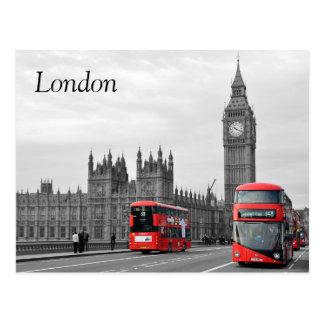 Ônibus no cartão da ponte de Westminster